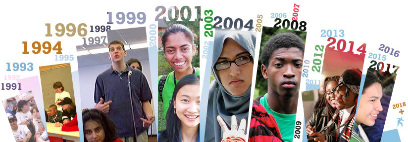 A photo montage of some youth participants involved in Students Commission activities from 1991 to the present.